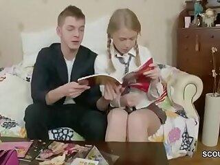 Tiny Blonde Virgin Schoolgirl get First Fuck by Huge Cock classmate at during Homework