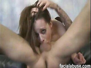 Gorgeous pornstar Natalie Moore non stop extreme facefucking