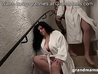Old wife gets abused by two young studs