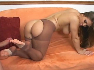 Pantyhose ripping foot fetish and anal sex