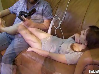 Cute girl gets her toes suck and feet played with