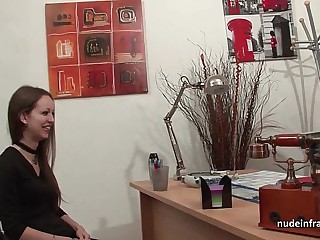 Amateur anal casting couch of a skinny french brunette in stockings