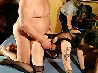 Dirty grandfather and his pals creampie gangbang his petite young gd HD
