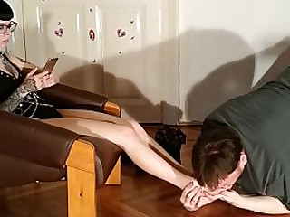 Slave servant sniffing Domina's boots and smelly sweaty socks and feet HD