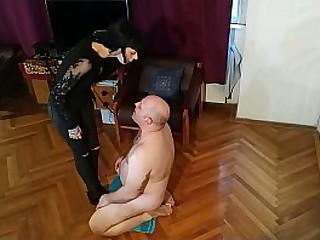 Slim Mistress spit a. her old fat slave pt2 HD